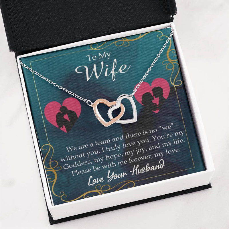 We Are a Team Gift to Wife Inseparable Necklace Pendant 18k Rose Gold 16""