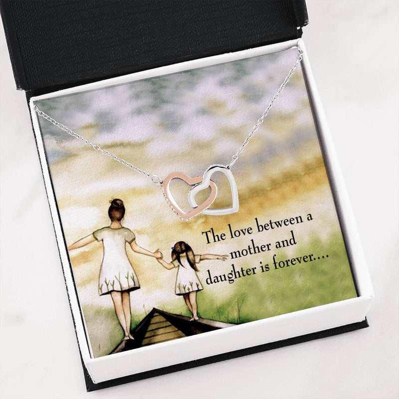 "Mother Daughter Eternal, Daughter Keepsake Card, Inseparable Necklace Pendant, 18k Rose Gold Finish 16"" To My Daughter"