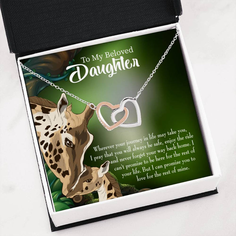 "Mom Loves You Eternally, Daughter Keepsake Card, Inseparable Necklace Pendant, 18k Rose Gold Finish 16"" To My Daughter"