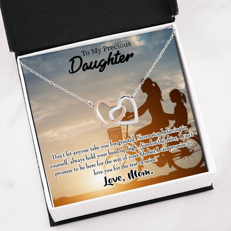 "Always There for You, Mom, Daughter Keepsake Card, Inseparable Necklace Pendant, 18k Rose Gold Finish 16"" To My Daughter"