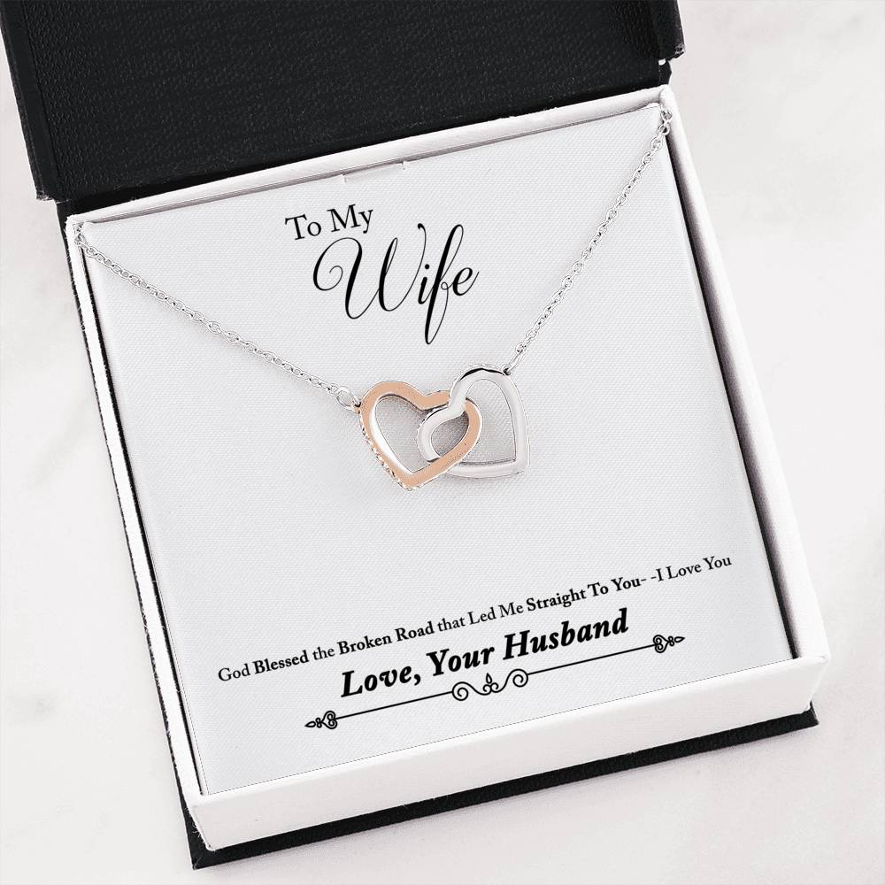 To My Wife, God Blessed the Broken Road Inseparable Necklace Pendant, 18k Rose Gold Finish 16""