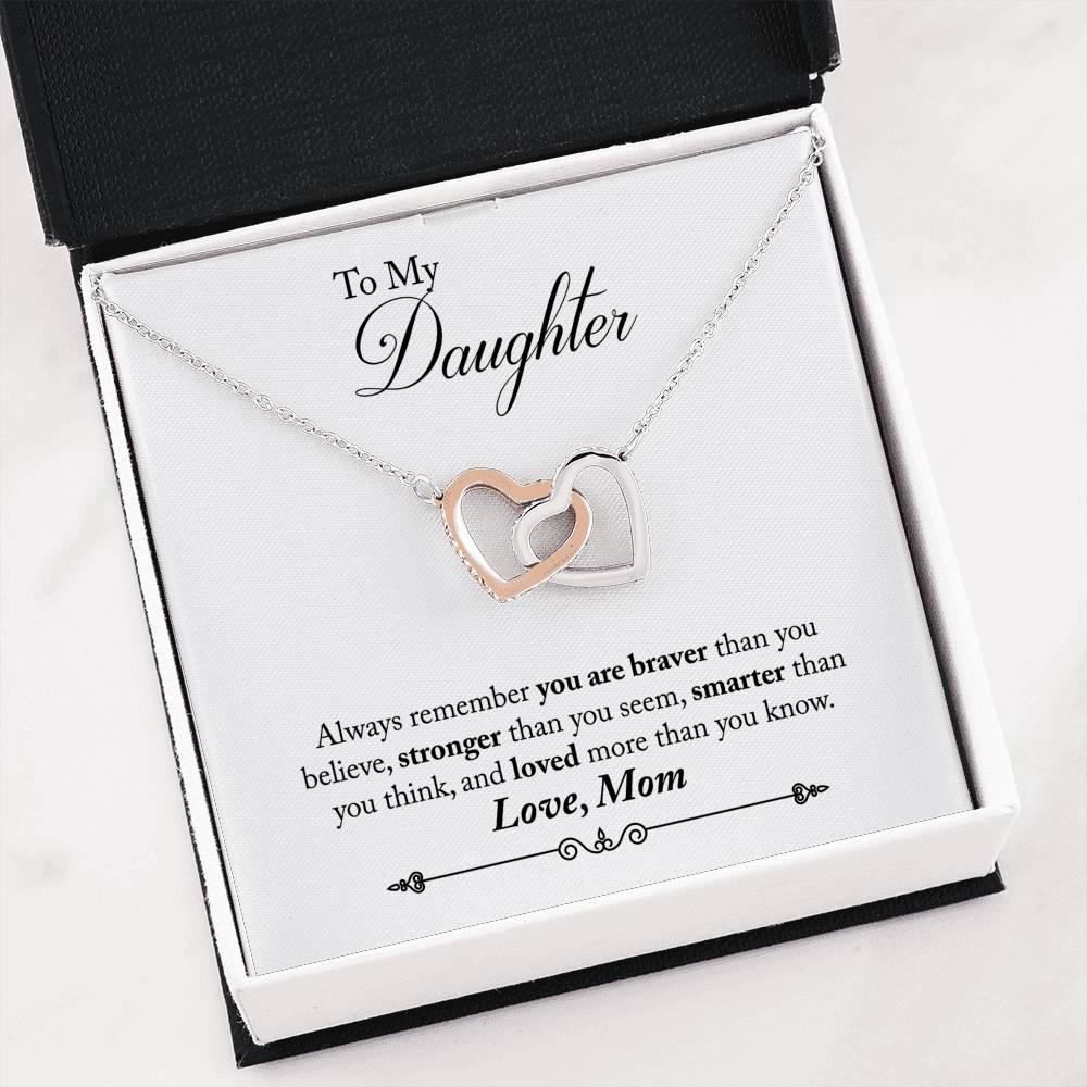 Mom to Daughter To my Daughter You are Braver Inseparable Necklace Pendant 18k Rose Gold 16""