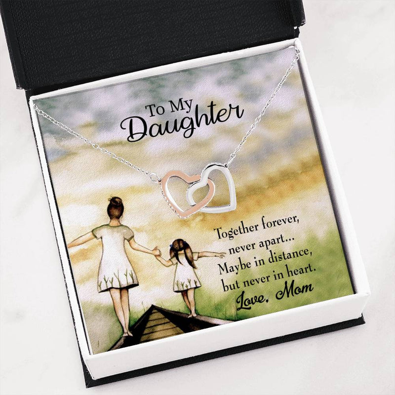 "Never Apart from Mom, Daughter Keepsake Card, Inseparable Necklace Pendant, 18k Rose Gold Finish 16"" To My Daughter"