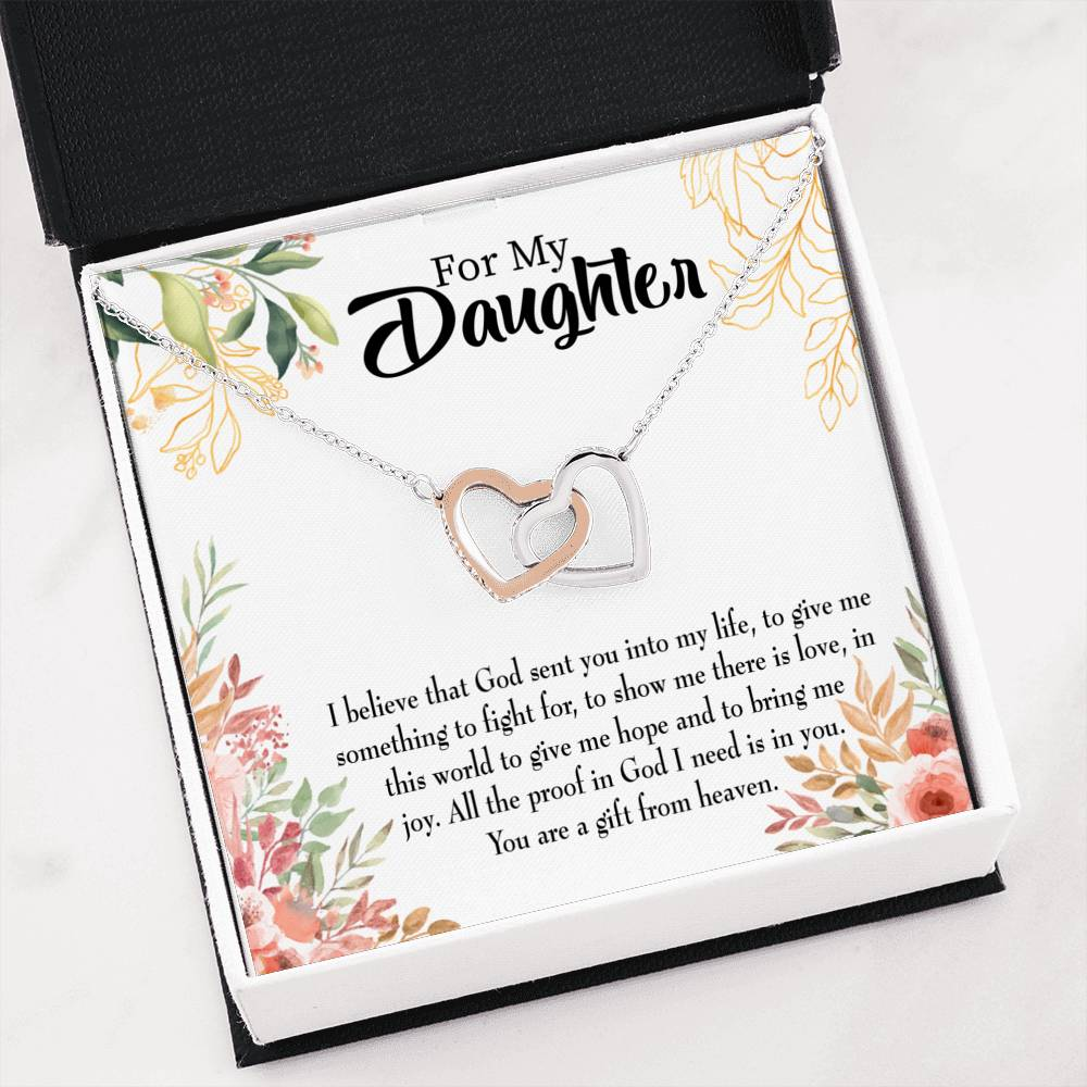 "Daughter from Mom and Dad Religious Daughter Keepsake Card Inseparable Necklace Pendant 18k Rose Gold 16"" To My Daughter"