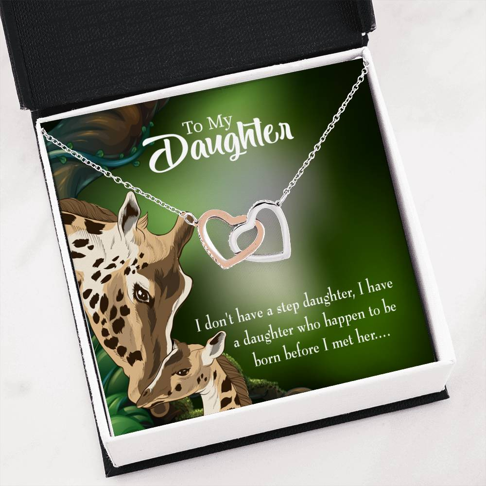 "To my Step Daughter Keepsake Card Inseparable Necklace Pendant 18k Rose Gold 16"" Unbiological Daughter Gift Step Daughter Gift Stepdaughter Necklace"
