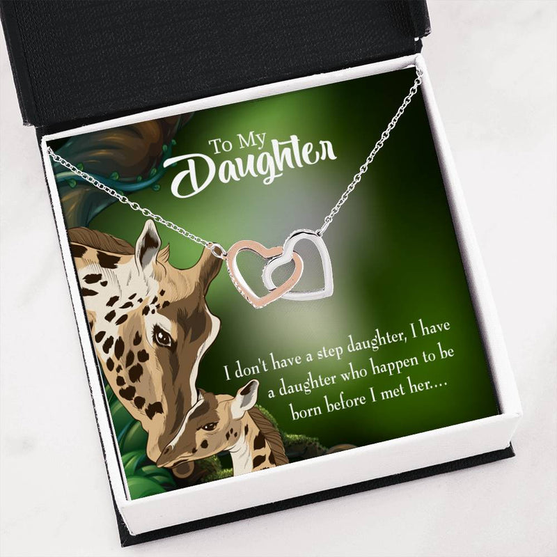 "To my Step Daughter Keepsake Card Inseparable Necklace Pendant 18k Rose Gold Finish 16"" Unbiological Daughter Gift Step Daughter Gift Stepdaughter Necklace - Express Your Love Gifts"