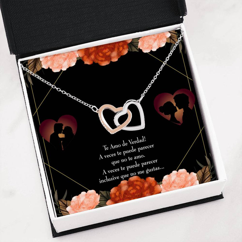 "Future Wife, Fiance Gift Really Love You Spanish Inseparable Love Pendant 18k Rose Gold Finish 16"" Engagement Wedding gift"