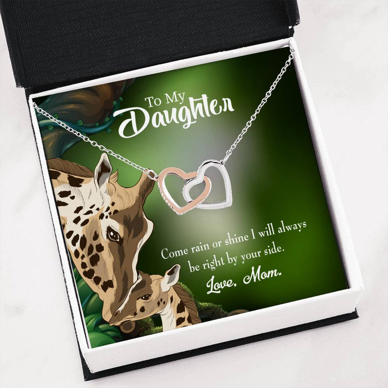 "Mom is right by your side, Daughter Keepsake Card, Inseparable Necklace Pendant, 18k Rose Gold Finish 16"" To My Daughter"
