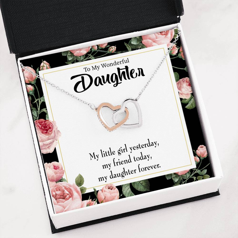 "My Girl Friend and Daughter To my Daughter Keepsake Card Inseparable Necklace Pendant 18k Rose Gold 16"" To My Daughter"