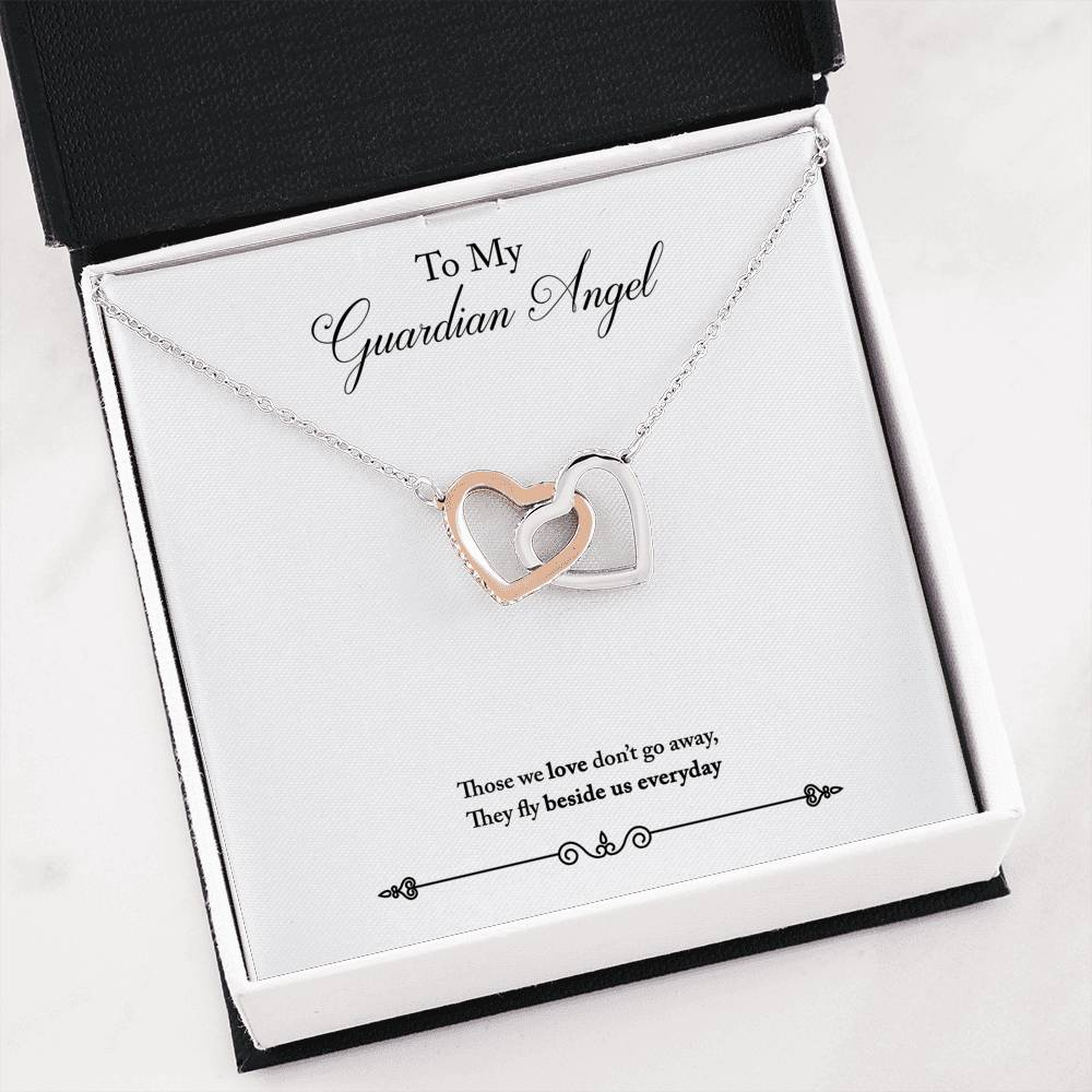 Guardian Angel Remembrance Inseparable Necklace Pendant 18k Rose Gold 16""