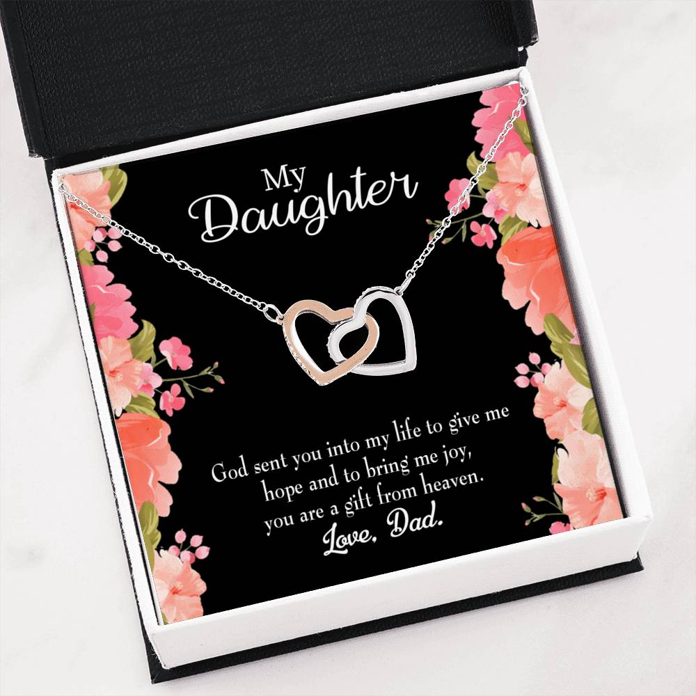 "God Sent Daughter to Dad Daughter Keepsake Card Inseparable Necklace Pendant 18k Rose Gold 16"" To My Daughter"