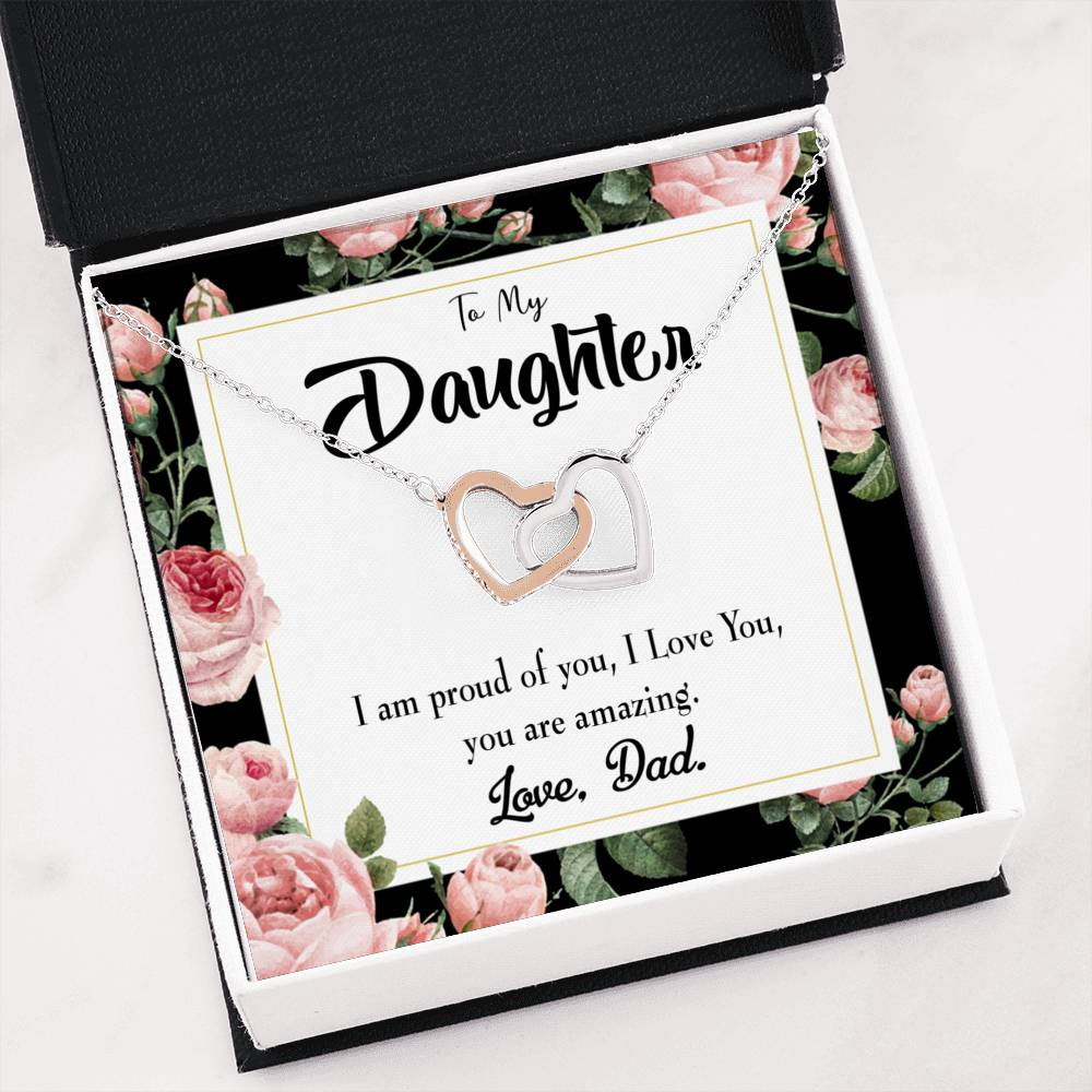 "Amazing Daughter to Dad Daughter Keepsake Card Inseparable Necklace Pendant 18k Rose Gold 16"" To My Daughter"