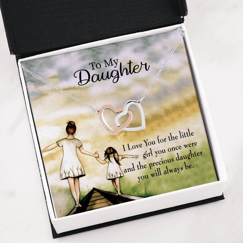 "Mom's Precious Girl, Daughter Keepsake Card, Inseparable Necklace Pendant, 18k Rose Gold Finish 16"" To My Daughter"