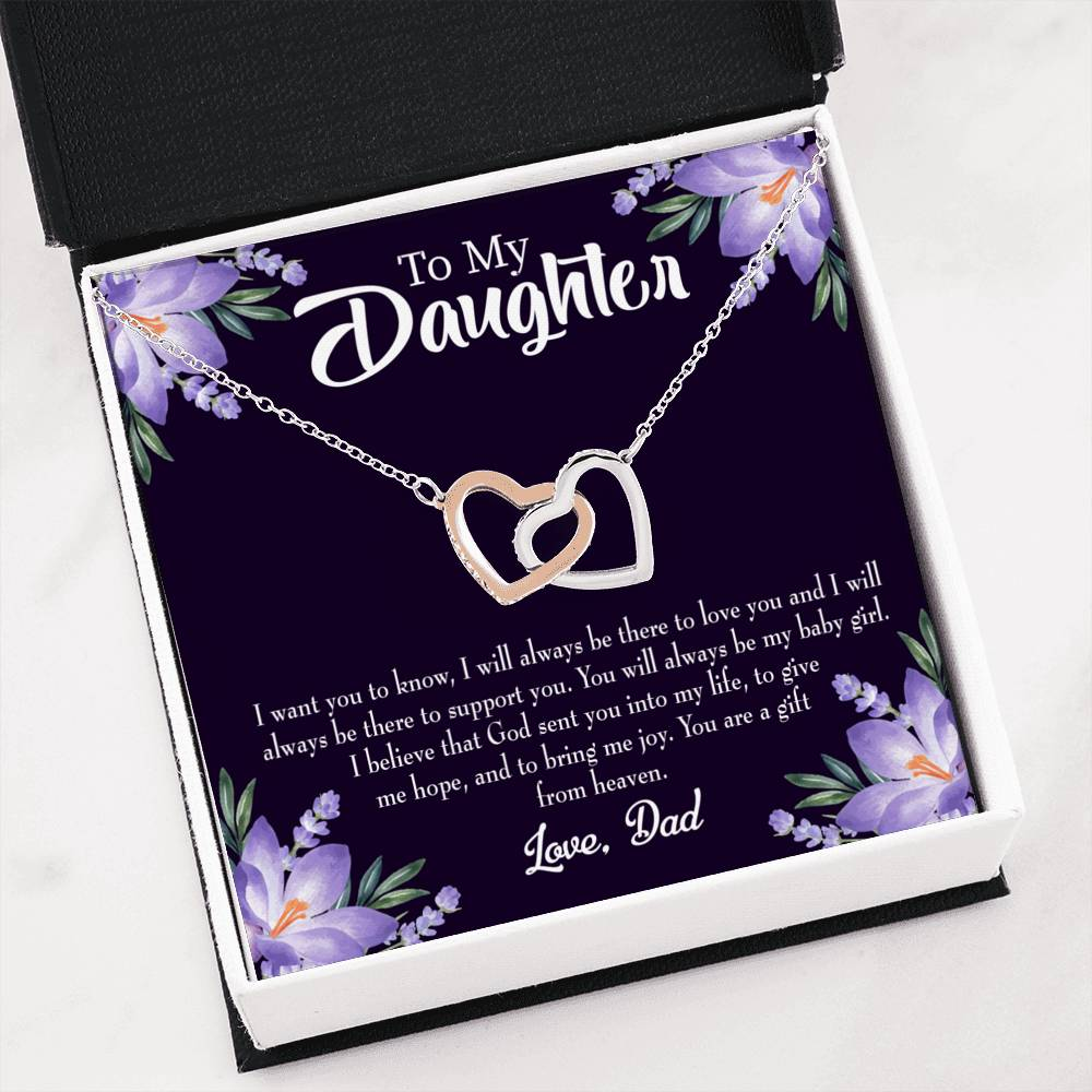 To My Daughter from Dad Gift from Heaven Keepsake Card Inseparable Necklace Pendant 18k Rose Gold 16""