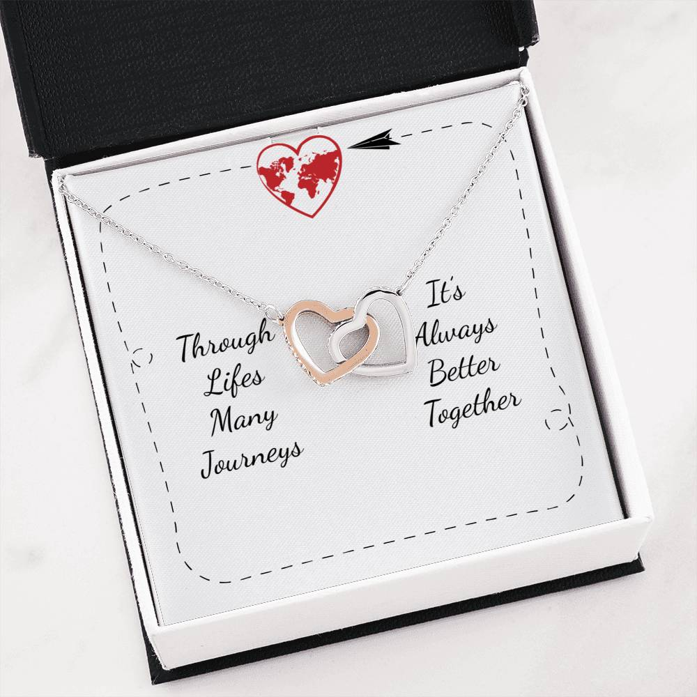 Love Message Jewelry, Life's Many Journeys Inseparable Necklace Pendant, 18k Rose Gold Finish 16""