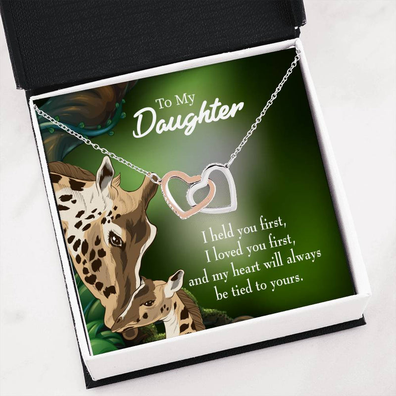 "Heart is tied to you, Daughter Keepsake Card, Inseparable Necklace Pendant, Mom to Daughter, 18k Rose Gold Finish 16"" To My Daughter"
