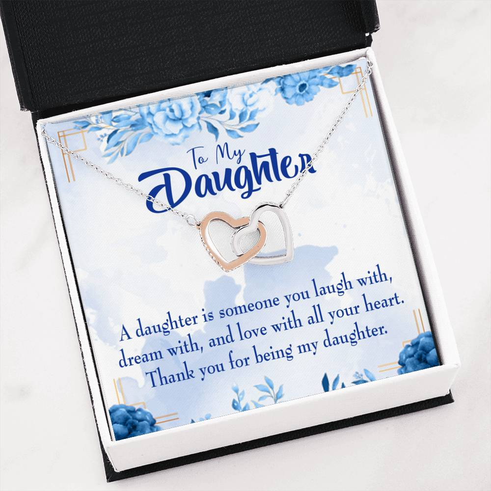 "Thank You for Being my Daughter Daughter Keepsake Card Inseparable Necklace Pendant 18k Rose Gold 16"" To My Daughter"