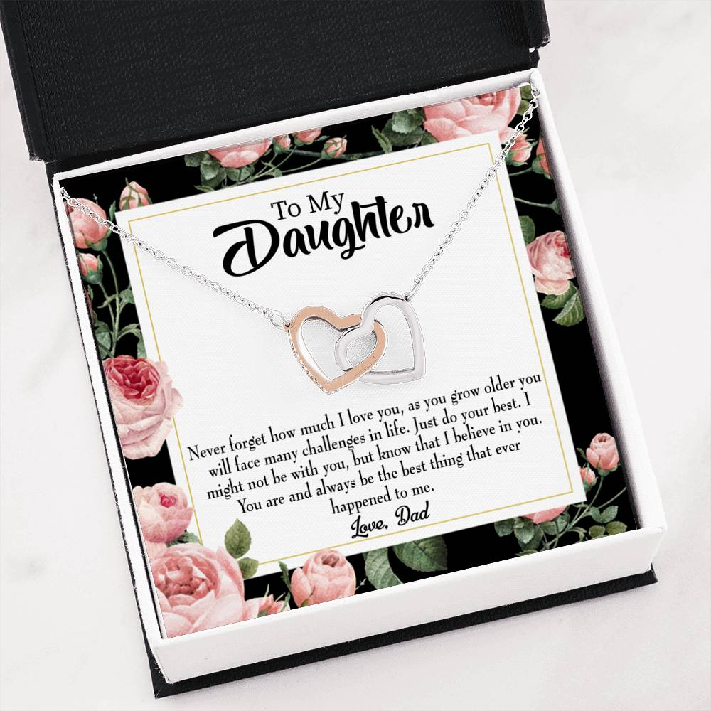 "Dad to Daughter Best Thing Daughter Keepsake Card Inseparable Necklace Pendant 18k Rose Gold 16"" To My Daughter"