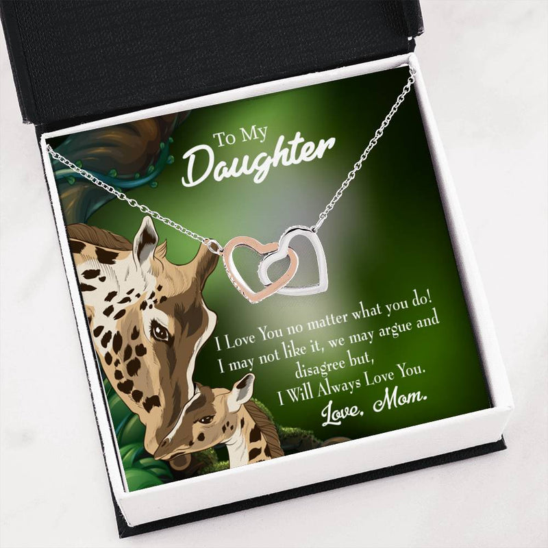 "Mom Loves You No Matter What, Daughter Keepsake Card, Inseparable Necklace Pendant, 18k Rose Gold Finish 16"" To My Daughter"