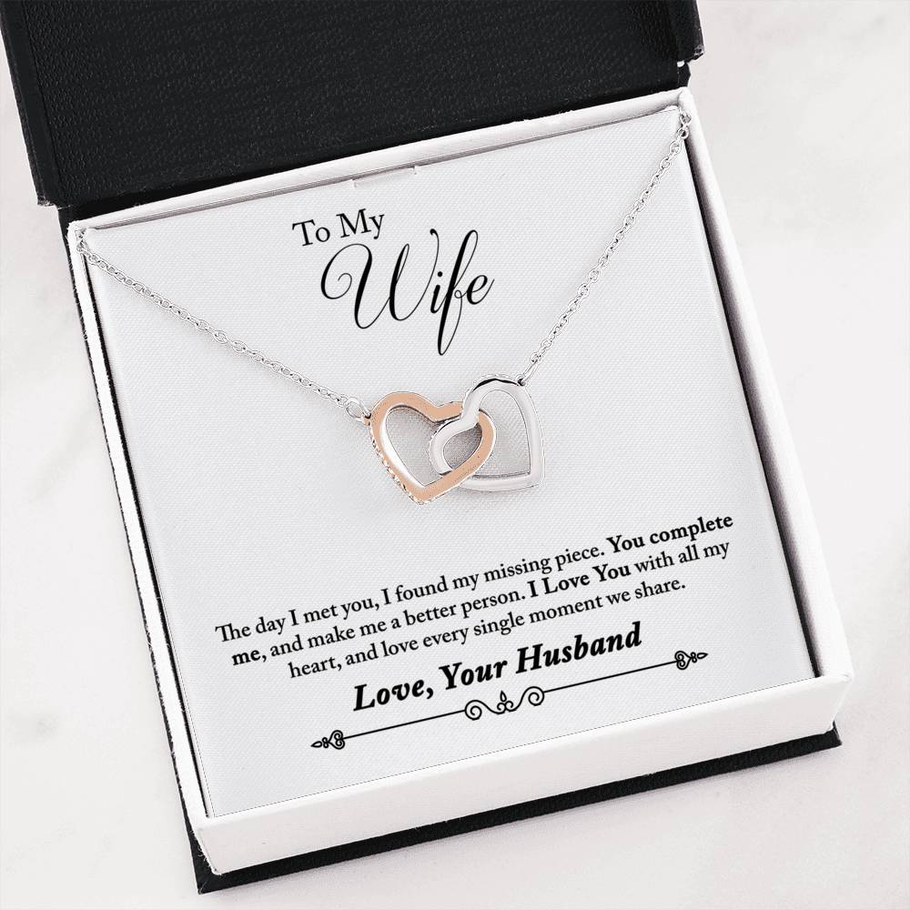 To My Wife You Complete Me Inseparable Necklace Pendant, 18k Rose Gold Finish 16""