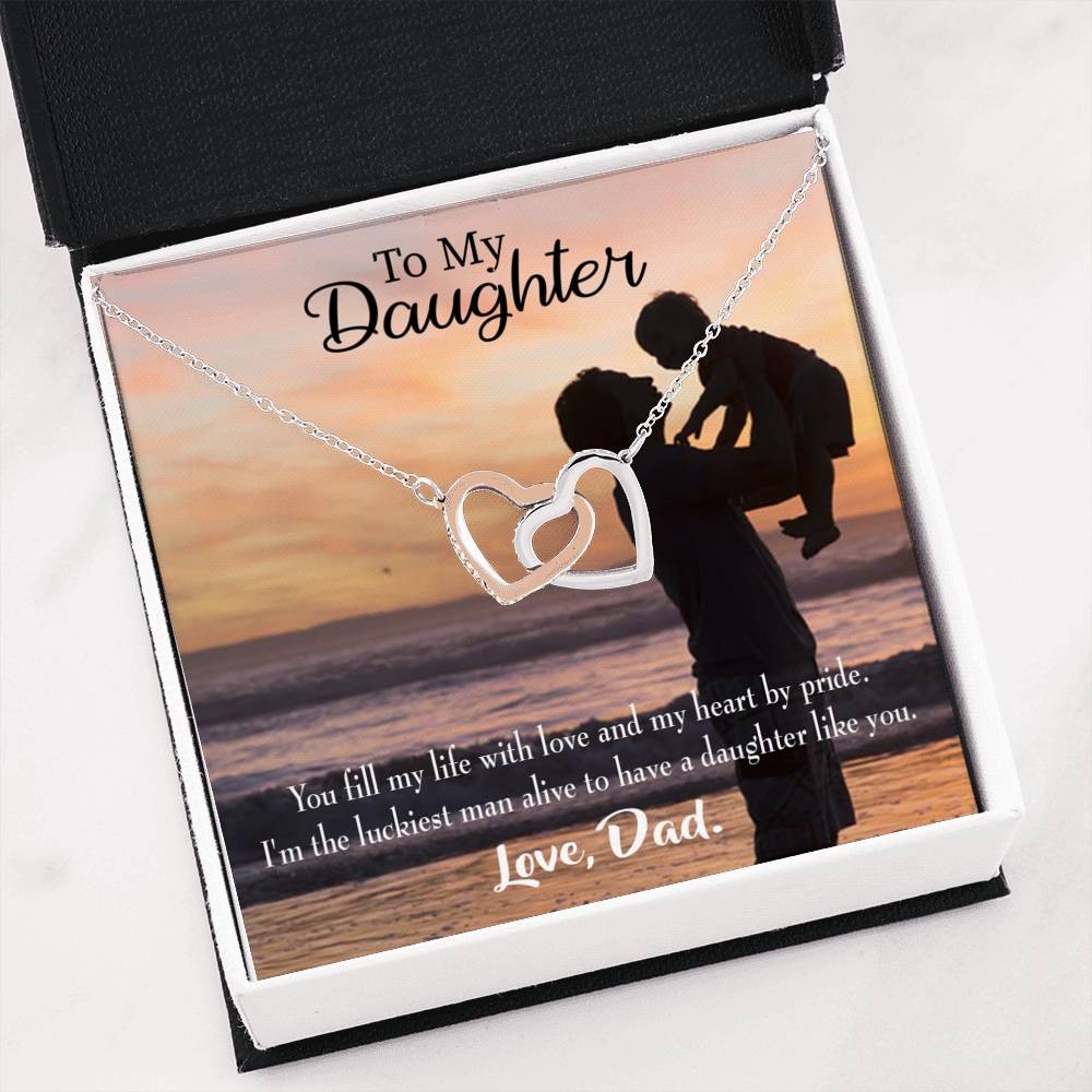 "Luckiest Dad Daughter Keepsake Card Inseparable Necklace Pendant Dad to Daughter 18k Rose Gold 16"" To My Daughter"