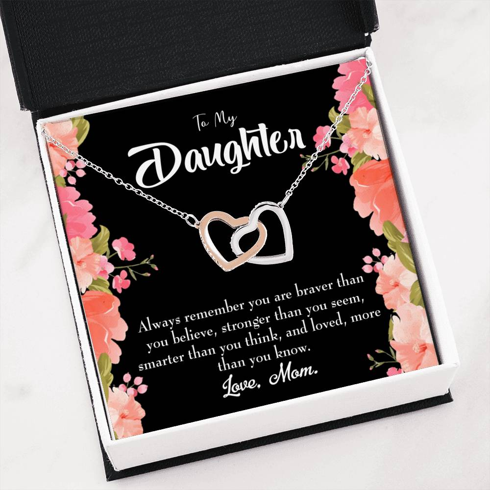 "Daughter Always Remember Daughter Keepsake Card Inseparable Necklace Pendant 18k Rose Gold 16"" To My Daughter"
