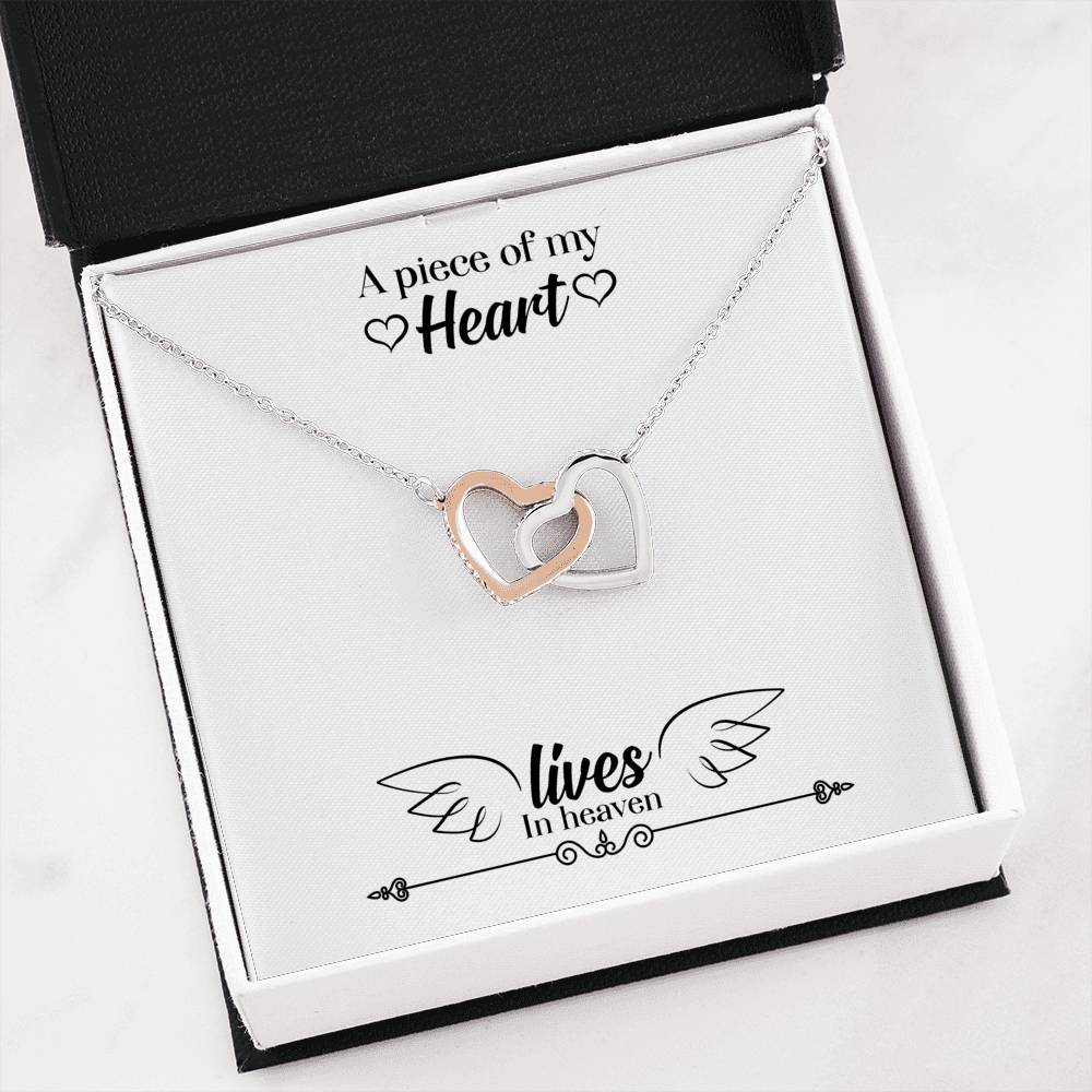 Memorial Message Jewelry A Piece of my Heart Lives in Heaven Inseparable Necklace Pendant 18k Rose Gold 16""