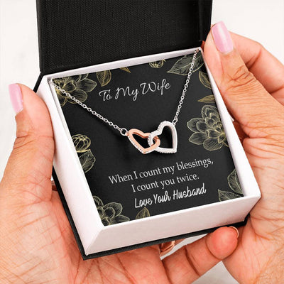 When I Count my Blessings Gift to Wife Inseparable Necklace Pendant 18k Rose Gold 16""