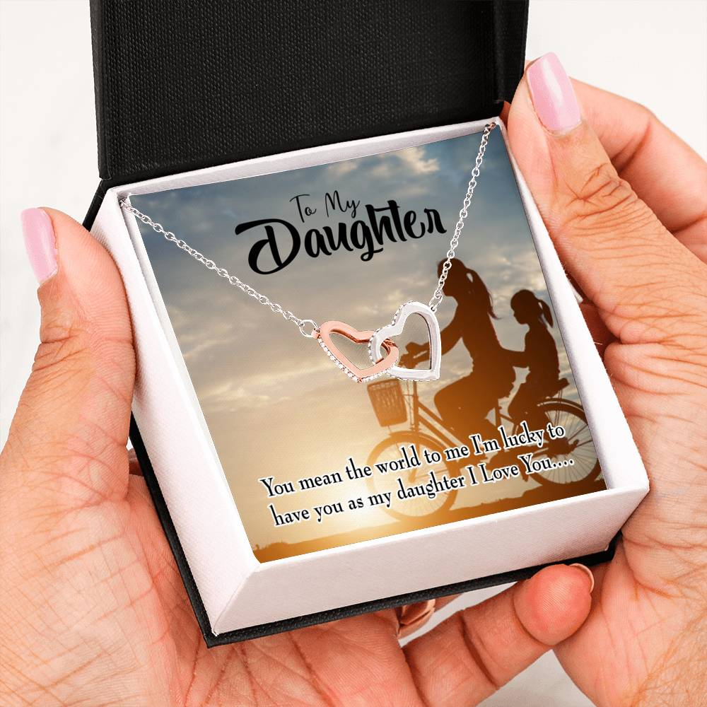 "You Mean the World, Mom to Daughter, Keepsake Card, Inseparable Necklace Pendant, 18k Rose Gold Finish 16"" To My Daughter"