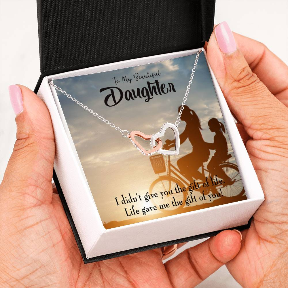 "Life Gave me You, To My Daughter Keepsake Card, Inseparable Necklace Pendant, Mom to Daughter, 18k Rose Gold Finish 16"" To My Daughter"