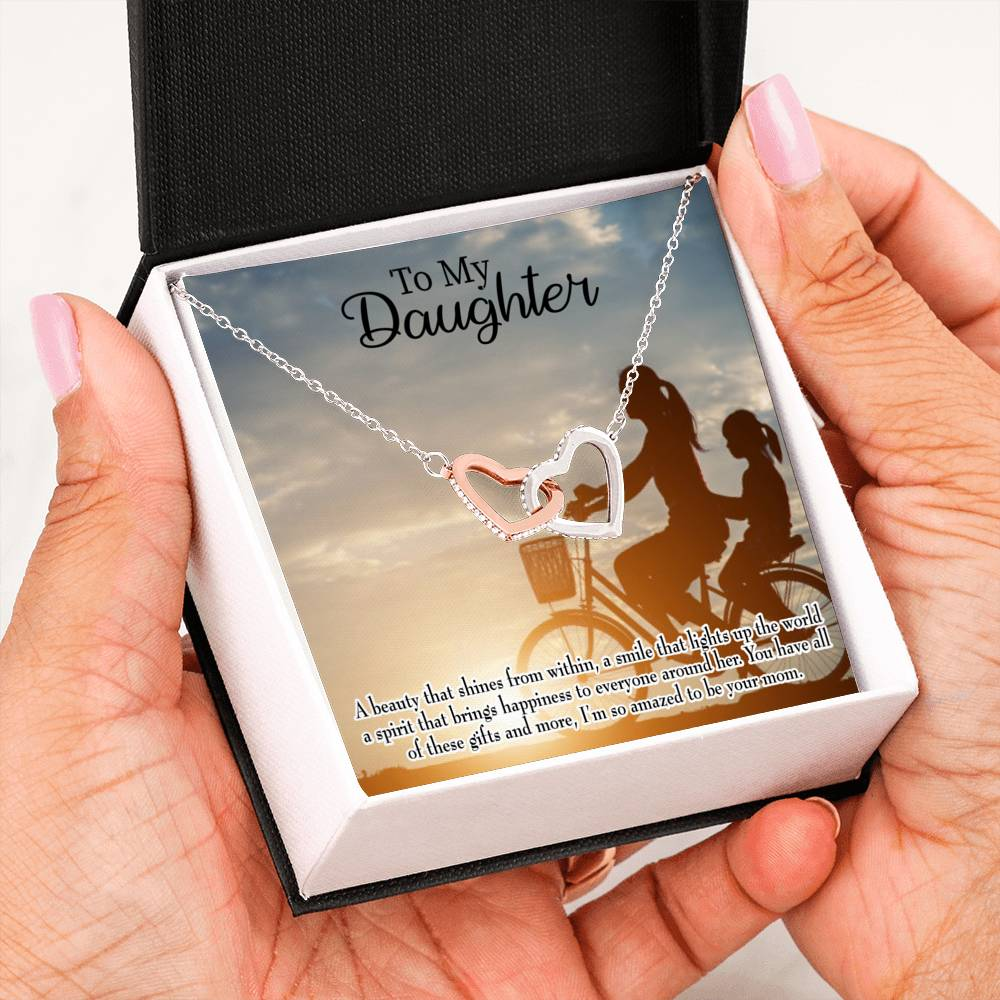 "Amazed to be Your Mom, Daughter Keepsake Card, Inseparable Necklace Pendant, 18k Rose Gold Finish 16"" To My Daughter"