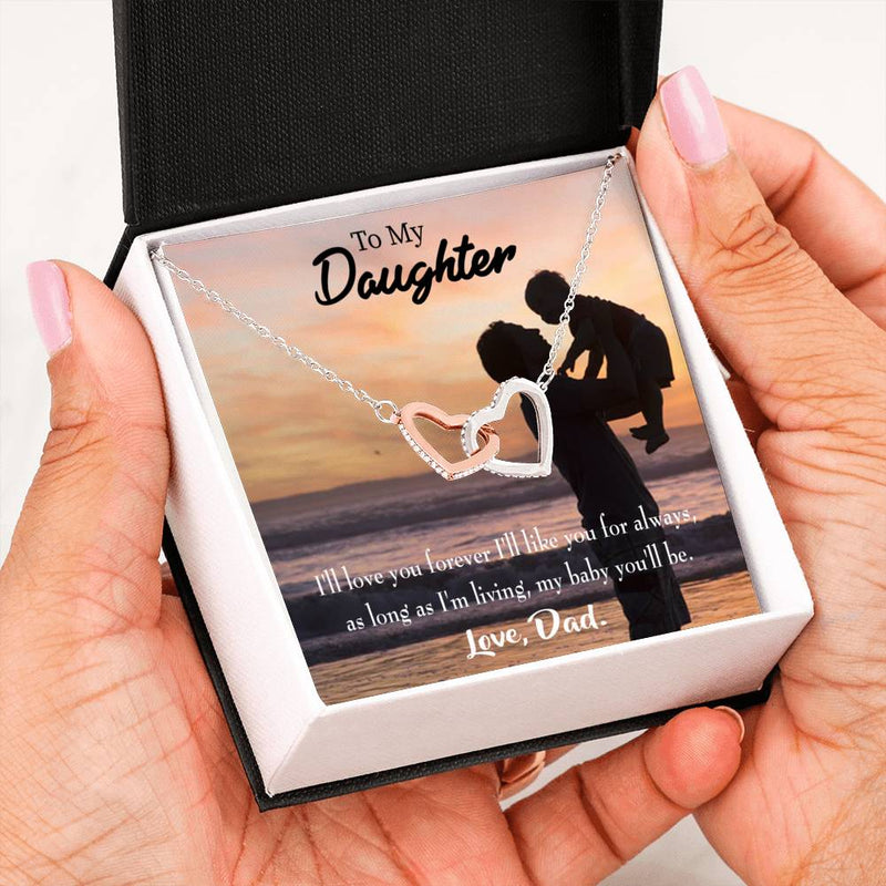 "Dad Loves You Forever Daughter Keepsake Card Inseparable Necklace Pendant 18k Rose Gold 16"" To My Daughter"