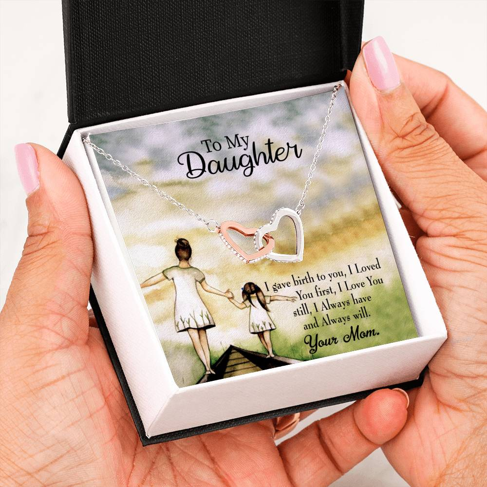 "Mom Loved You First, Daughter Keepsake Card, Inseparable Necklace Pendant, 18k Rose Gold Finish 16"" To My Daughter"