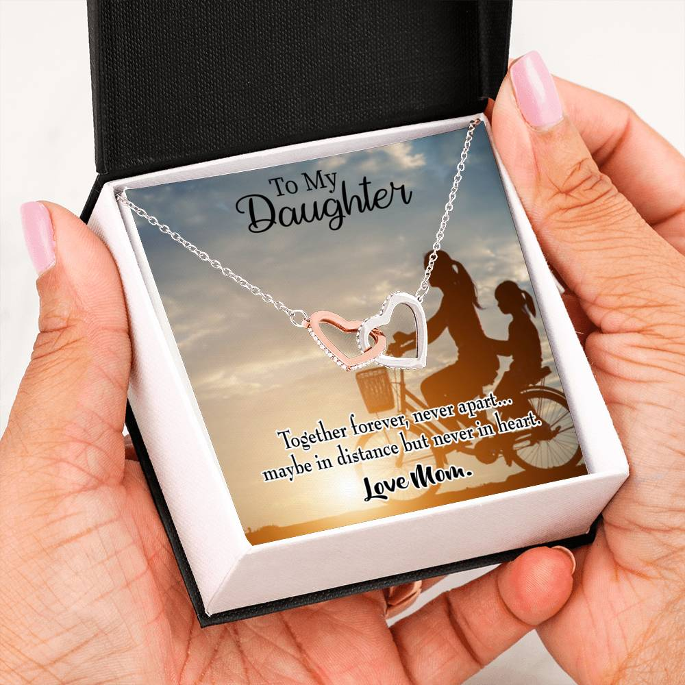 "Together Forever, Mom to Daughter Keepsake Card, Inseparable Necklace Pendant, 18k Rose Gold Finish 16"" To My Daughter"