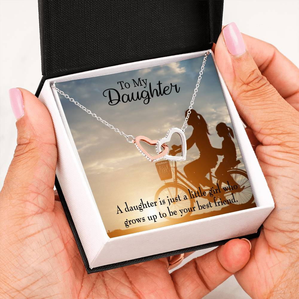 "Mom's Little Girl is Bestfriend, Daughter Keepsake Card, Inseparable Necklace Pendant, 18k Rose Gold Finish 16"" To My Daughter"