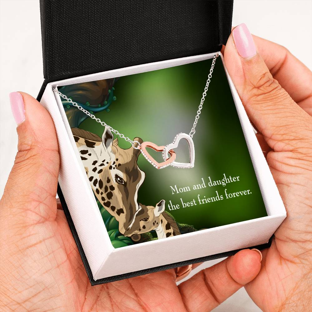 "Mom and Daughter Best Friends Forever, Daughter Keepsake Card, Inseparable Necklace Pendant, 18k Rose Gold Finish 16"" To My Daughter"