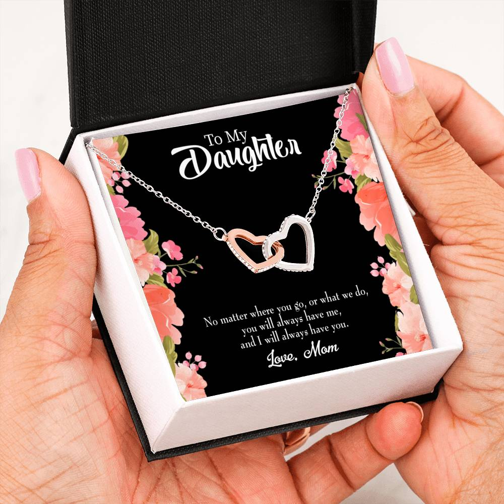 "Always Have Each Other, Daughter Keepsake Card, Inseparable Necklace Pendant, Mom to Daughter, 18k Rose Gold Finish 16"" To My Daughter"