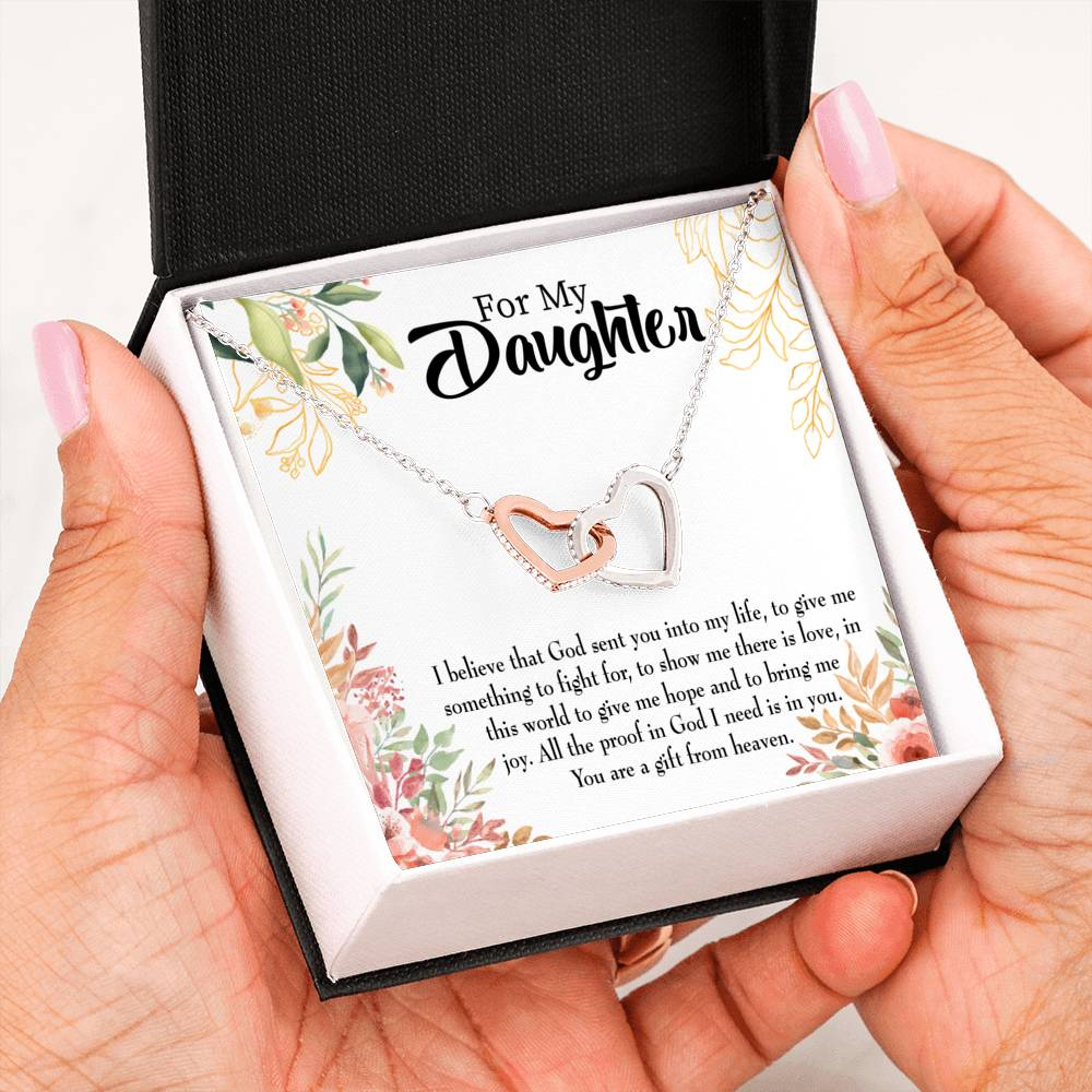 "Daughter from Mom and Dad Religious, Daughter Keepsake Card, Inseparable Necklace Pendant, 18k Rose Gold Finish 16"" To My Daughter"