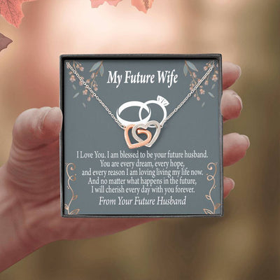 To Future Wife Every Dream Inseparable Necklace Pendant 18k Rose Gold Finish 16""