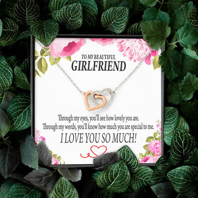 To My Girlfriend Special to Me Inseparable Necklace Pendant 18k Rose Gold Finish 16""