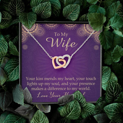 Your Kiss Mends My Heart Gift to Wife Inseparable Necklace Pendant 18k Rose Gold 16""