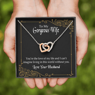 Gift to Wife You're The Love of My Life Inseparable Necklace Pendant 18k Rose Gold 16""