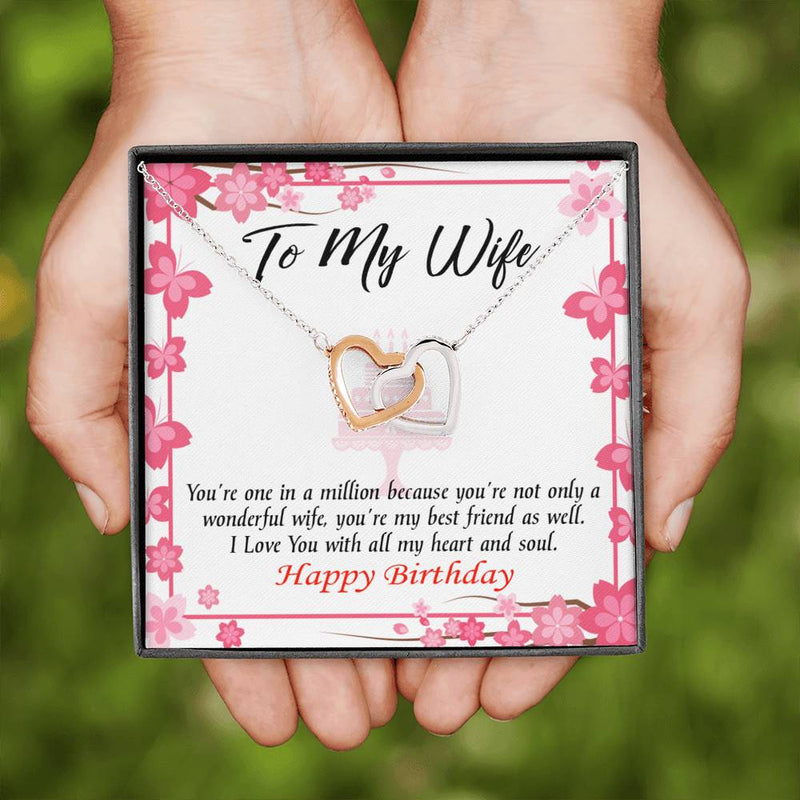 Wife Love Card, Wonderful Best Friend Wife, Wife Gift, Inseparable Love Pendant 18k Rose Gold, Romantic Birthday Card