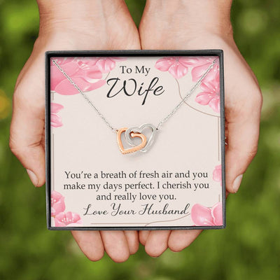 You're a Breath of Fresh Air Gift to Wife Inseparable Necklace Pendant 18k Rose Gold 16""