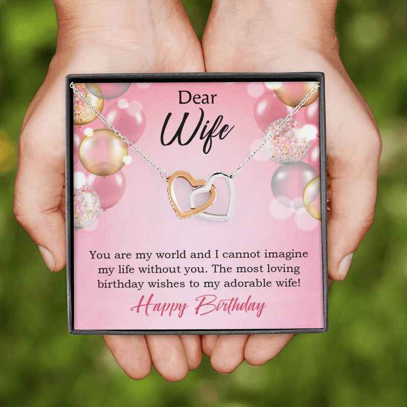 Wife Love Card, Adorable Wife! Wife Gift, Inseparable Love Pendant 18k Rose Gold, Romantic Birthday Card