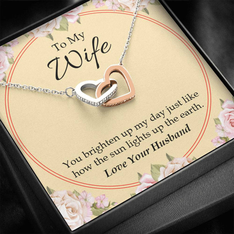 Gift to Wife, You Brighten Up My Day, Inseparable Necklace Pendant, 18k Rose Gold 16""