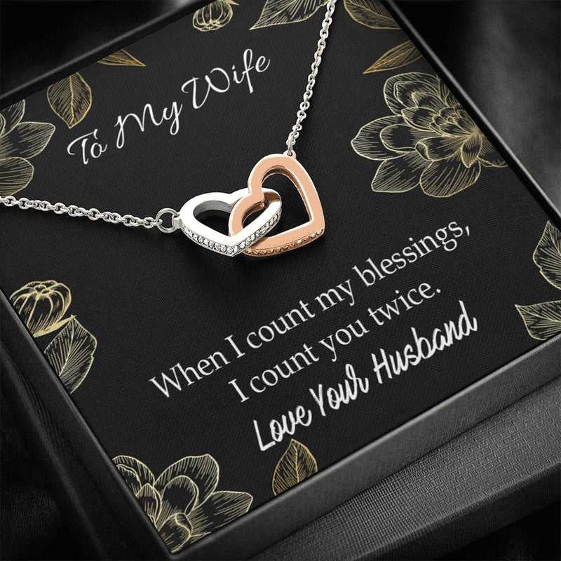 When I Count my Blessings, Gift to Wife, Inseparable Necklace Pendant, 18k Rose Gold 16""