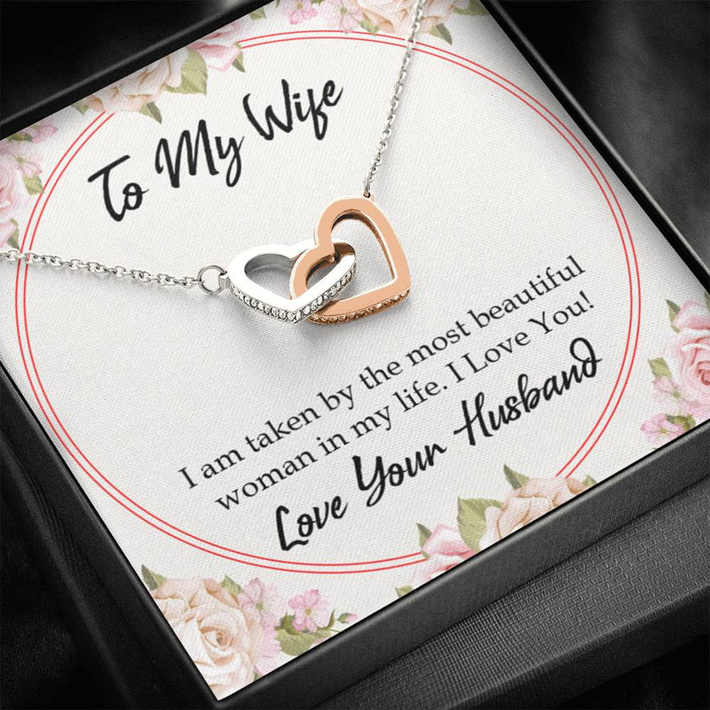 Taken by The Most Beautiful Woman, Gift to Wife, Inseparable Necklace Pendant, 18k Rose Gold 16""