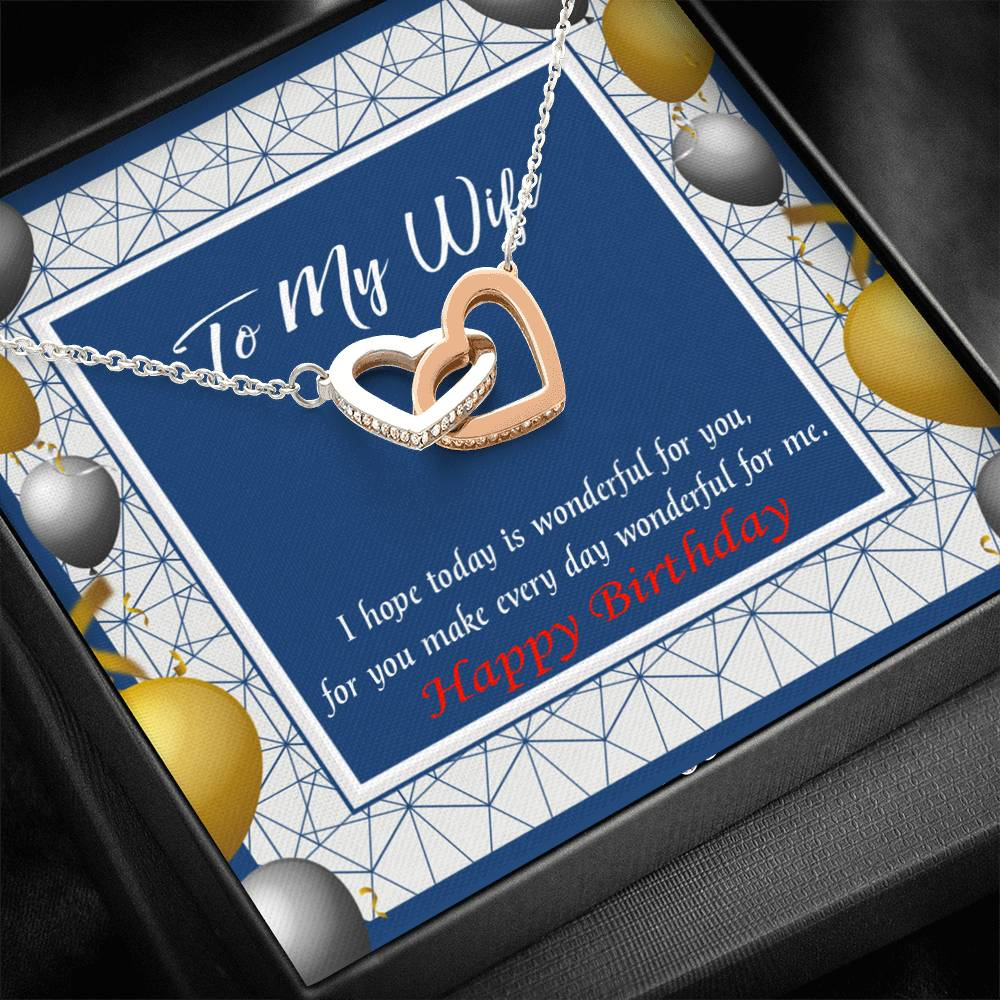 Wife Love Card, You are Wonderful, Wife Gift, Inseparable Love Pendant 18k Rose Gold, Romantic Birthday Card