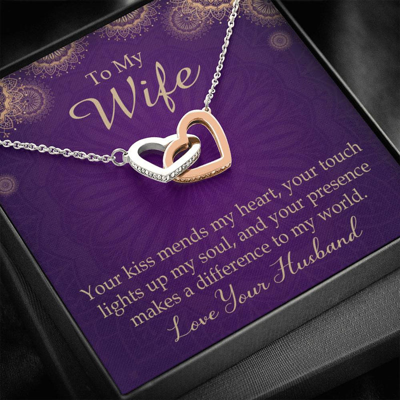 Your Kiss Mends My Heart, Gift to Wife, Inseparable Necklace Pendant, 18k Rose Gold 16""